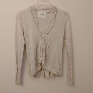 Angel of the North Beige Cardigan Anthro Size S
